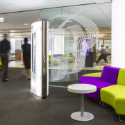 Entry to the office is via an NEC furniture, institution, interior design, lobby, office, product design, waiting room, white