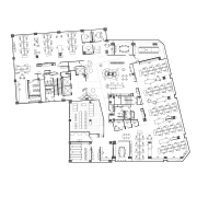 The interactive zone, in the centre of the area, black and white, design, diagram, drawing, floor plan, font, line, line art, music, plan, product, product design, text, white