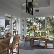 This screened porch is accessed from the new dining room, home, interior design, outdoor structure, patio, porch, real estate, window, gray