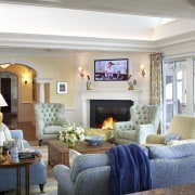 Interior detailing in the wing is matched to ceiling, estate, home, interior design, living room, real estate, room, white