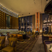 Floor-to-ceiling windows maximise the spectacular views in the bar, interior design, lobby, restaurant, brown