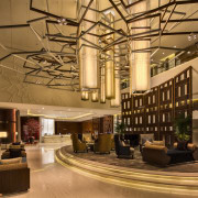 The design of the new Westin Singapore hotel interior design, lobby, brown, orange
