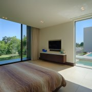 With the bed aligned with the lap pool architecture, bedroom, ceiling, estate, floor, house, interior design, property, real estate, room, villa, window, wood, gray