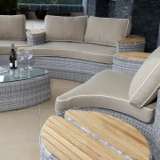 Bermuda outdoor furniture end pieces can be reconfigured chair, coffee table, floor, flooring, furniture, outdoor furniture, product design, sunlounger, table, wicker, gray