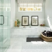This tub tucks into a space beneath a bathroom, floor, flooring, home, interior design, room, tile, white
