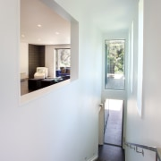 Stairs lead down to the master suite on architecture, home, house, room, gray