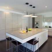 This Poggenpohl kitchen island and some perimeter cabinets architecture, countertop, interior design, kitchen, room, gray, black