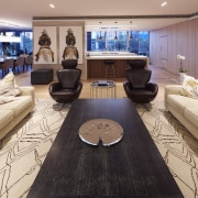 Custom cabinetry separates public and private living spaces interior design, living room, room