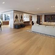 Open-plan kitchen dining living space in waterfront apartment floor, flooring, hardwood, interior design, laminate flooring, living room, property, real estate, room, wood, wood flooring, orange, gray
