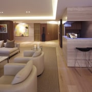Open-plan formal living area with limestone clad-bar and ceiling, interior design, room, suite, brown