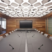 The wood veneer boardroom is a showcase for auditorium, ceiling, conference hall, daylighting, interior design, table, gray, white