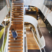 The wide stair in the Aurecon building posed architecture, building, furniture, interior design, product design, stairs, wood, gray