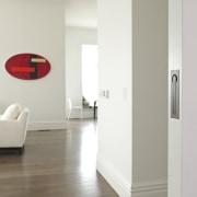Chant customisable residential sliding door hardware in Weathered door, floor, flooring, home, interior design, product design, white