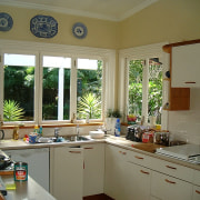 Kitchen in New Zealand traditional villa before renovation countertop, home, house, interior design, kitchen, real estate, room, window, brown