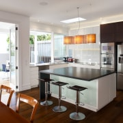 Bifold windows open up this kitchen to the countertop, interior design, kitchen, real estate, room, gray