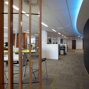 Cedar screens help to separate workstations in the architecture, ceiling, daylighting, floor, flooring, interior design, lobby, gray, brown