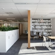 Greenery reinforces the eco-friendly design of the Anderson furniture, interior design, office, product design, white, gray