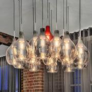The hand-blown glass pendant light is a feature chandelier, light fixture, lighting, gray