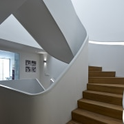 The white staircase in the main part of architecture, ceiling, daylighting, floor, handrail, home, house, interior design, product design, real estate, stairs, gray