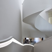 The white staircase in the main part of angle, architecture, ceiling, daylighting, house, interior design, product design, stairs, gray