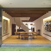 This internal courtyard in a remodelled Singapore shophouse architecture, door, estate, home, house, interior design, property, real estate, window, gray