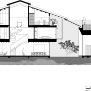 Cross section plan of Singapore shophouse renovation angle, architecture, area, black and white, building, design, drawing, elevation, facade, floor plan, home, house, line, monochrome, plan, product design, property, residential area, structure, white