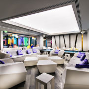 Central bar area of Matisse Beach Club by interior design, product design, white, gray