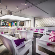 This internal bar area can be walled off function hall, interior design, purple, restaurant, table, gray