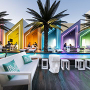 At the Matisse Beach Club in Perth, by condominium, estate, hotel, leisure, palm tree, property, real estate, resort, swimming pool, black, white