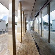 Large timber fins on the deck provide sun architecture, daylighting, floor, flooring, glass, house, interior design, window, wood, gray