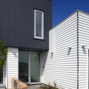 Low-maintenance James Hardie Linea® Weatherboards and Stria® Cladding architecture, building, facade, home, house, real estate, residential area, siding, window, black, white