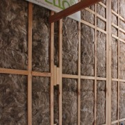 Earthwool glasswool by Knauf Insulation provides a super-soft wall, window, wood, brown