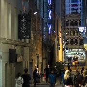 The Fort Street and Fort Lane upgrades in building, city, downtown, infrastructure, landmark, metropolis, metropolitan area, night, pedestrian, road, skyscraper, street, town, urban area, black