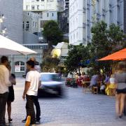 Fort Street urban outdoor space - Fort Street city, downtown, infrastructure, market, marketplace, neighbourhood, pedestrian, public space, road, shopping, street, town, urban area, vacation, black