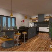 NKBA Smeg Student Challenge Award winner Sarah Burrows interior design, kitchen, loft, real estate, room, brown