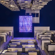 The giant reflector frame at the top of architecture, design, interior design, purple, blue