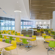 The cafeteria at P&G Singapore was located in architecture, cafeteria, interior design, leisure centre, lobby, gray