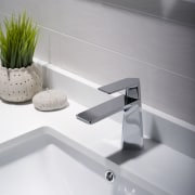 Kraus Aplos faucet in polished chrome from the angle, bathroom sink, plumbing fixture, product design, sink, tap, white, gray