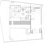 Ground-floor plan of house by Ong&Ong. - Ground-floor architecture, area, black and white, design, diagram, drawing, elevation, floor plan, home, house, line, plan, product, product design, property, schematic, structure, technical drawing, white