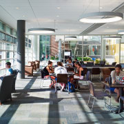 At the Institute of Environmental Sustainability, Loyola University cafeteria, institution, lobby, gray
