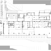 Plan of ground floor Harry Perkins Institute for architecture, area, black and white, design, diagram, drawing, elevation, facade, floor plan, home, house, plan, product design, property, residential area, schematic, structure, technical drawing, urban design, white