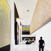 Timber veneer panels in the Harry Perkins Institute architecture, ceiling, daylighting, interior design, lobby, white