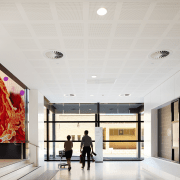 Large animated displays in the foyer of the architecture, ceiling, interior design, lobby, white