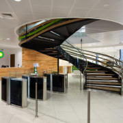 The stair in the new BP head office architecture, interior design, lobby, product design, stairs, gray