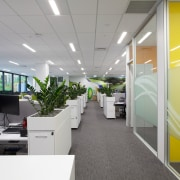 BP corporate signage is evident in the new ceiling, interior design, office, product design, gray