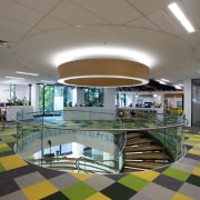 Colourful carpet tiles in the new BP office architecture, ceiling, daylighting, floor, interior design, leisure centre, lobby, gray