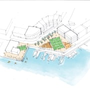 Jasmax produced several different ideas for the redesign area, diagram, plan, product design, structure, urban design, white