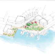 Jasmax produced several different ideas for the redesign area, diagram, line, map, plan, product design, urban design, white