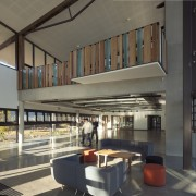 The large open area immediately inside the main architecture, daylighting, interior design, lobby, gray, black