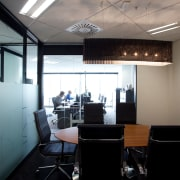 Office interiors in the new building at 76-78 ceiling, interior design, office, gray, black